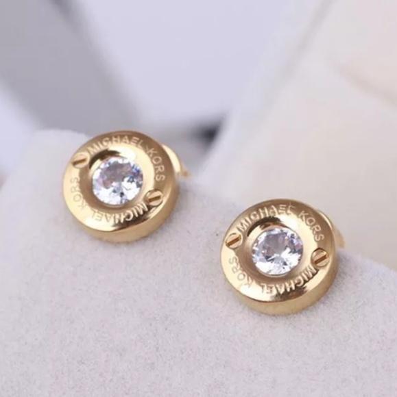 Michael Kors Jewelry - Michael Kors Gold Crystal Signature Stud Earrings
